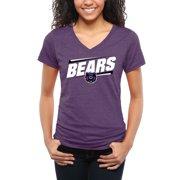 Central Arkansas Bears Women's Double Bar Tri-Blend V-Neck T-Shirt - Purple