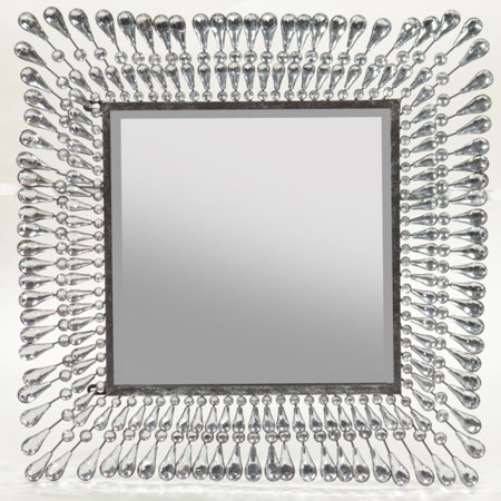 Alluring Metal Mirror with Stones - Benzara
