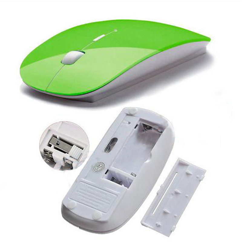 Thin USB Optical Wireless Bluetooth Mouse 2.4GHz Super Slim Mouse for Apple PC MacBook