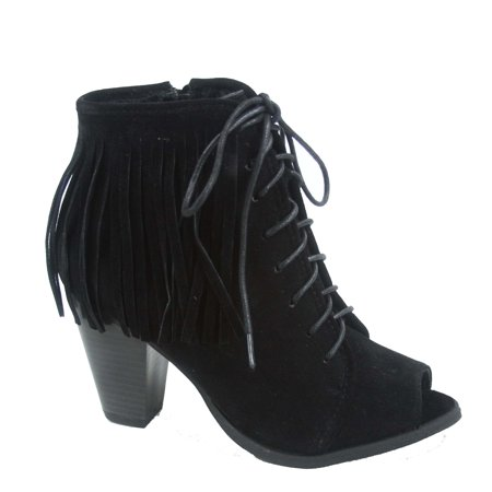 Camila-82 Women's Fashion Fringe Cowgirl Open Toe Lace Zipper Up Chunky Heel Ankle Booties
