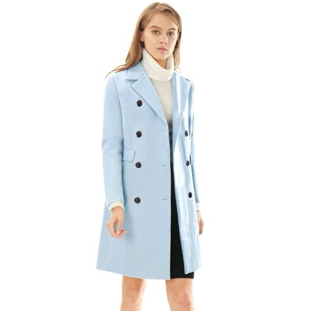 Classic Notched Collar Coat (Unique Bargains Women's Double Breasted Trench Coat Blue-1 (Size XS /)