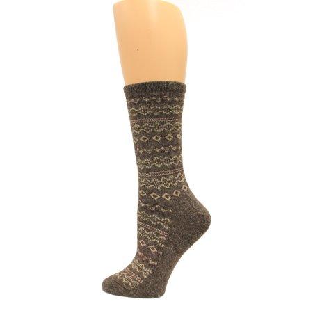 Angora Blend Socks (Wise Blend Angora Aztec Crew Socks, 1 Pair, Brown, Medium, Shoe Size W 6-9 )