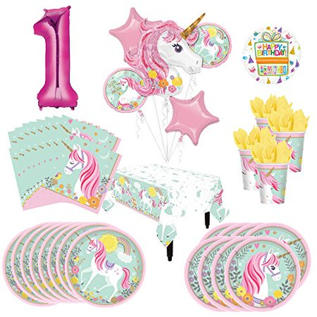 Mayflower Products Magical Unicorn Party Supplies 8 Guests 1st Birthday Balloon Bouquet Decorations