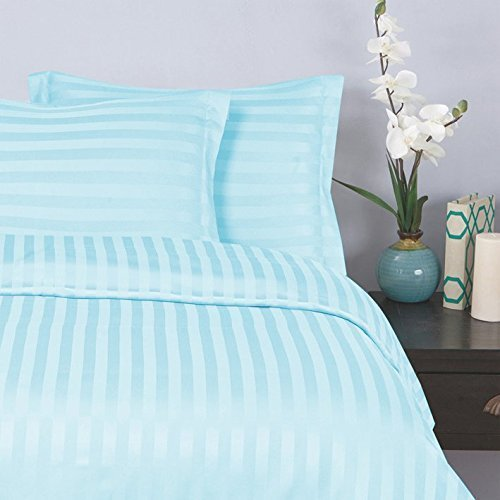 "Elegant Comfort® Wrinkle & Fade Resistant 1500 Thread Count - Damask STRIPES Silky Soft 4pc Sheet Set, Up To 16"" Deep Pocket, Queen, Aqua"