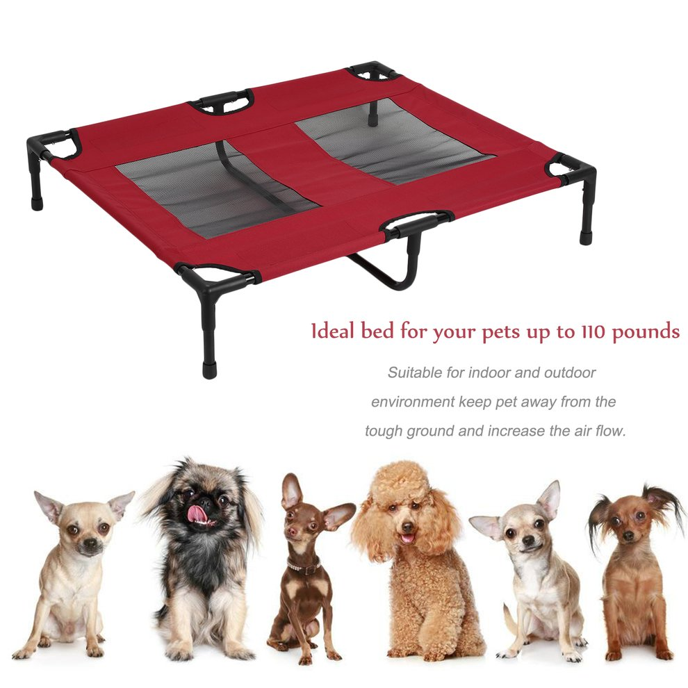Red Portable Removable Pet Bed Large Indoor Outdoor Raised Dog Cat Sleep Bed Dog Elevated Furniture Really Stable Camping Pet Cot