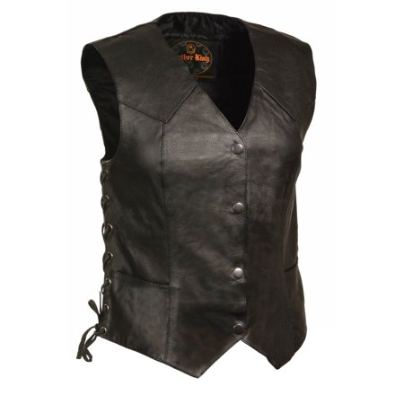 Classic Cowhide Vest - Milwaukee Leather - Womens Classic Leather Side Lace Four Snap Vest - Black - Size Large