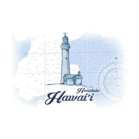 Honolulu, Hawaii - Lighthouse - Blue - Coastal Icon Print Wall Art By Lantern (Outlet Store Honolulu)
