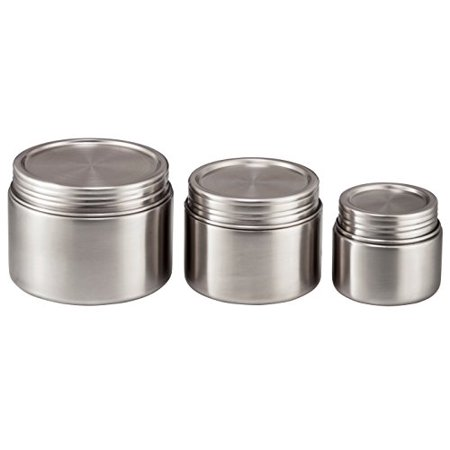 Bruntmor, 18/8 Stainless Steel Airtight Round Food Container Set of 3 (8oz 16oz 24oz) - Leak-Proof Food Jar for Baby Food, Lunch, Yogurt, Snacks and Sides - Eco-Friendly, Dishwasher Safe and BPA-Free
