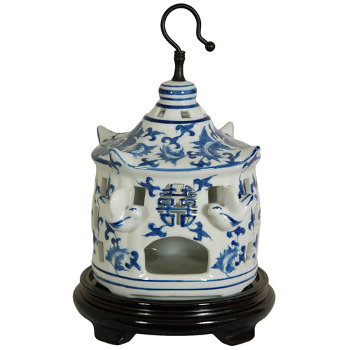 Oriental Furniture Bird Cage with Blue Floral Design in White