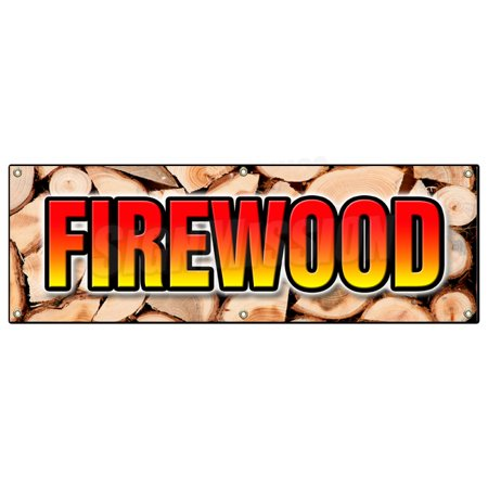 Face Cord Firewood - FIREWOOD BANNER SIGN fire wood split hickory cord delivered stacked seasoned