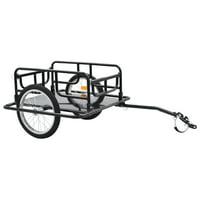 """WALFRONT Bike Cargo Trailer 51.2""""x28.7""""x19.7"""" Steel Black"""