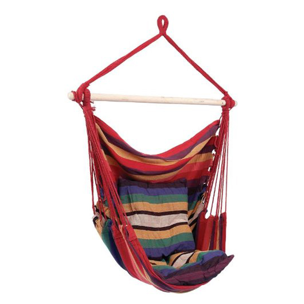 hammock swing chair hanging rope chair portable porch seat with two cushions for bedroom