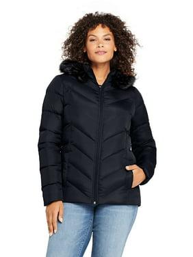 Lands' End Women's Plus Down Faux Fur Hooded Jacket