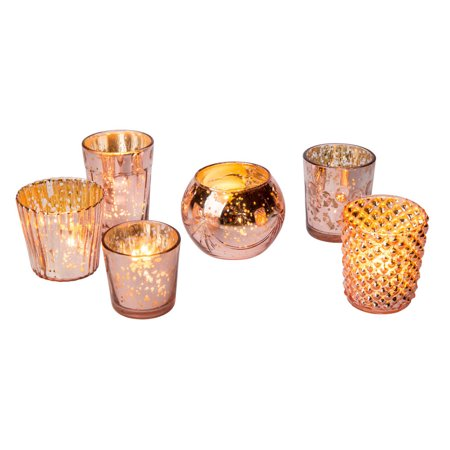 Best of Vintage Mercury Glass Candle Holders (Rose Gold, Set of 6) - For Use with Tea Lights - For Home Decor, Parties, and Wedding Decorations - Mercury Glass Votive Holders
