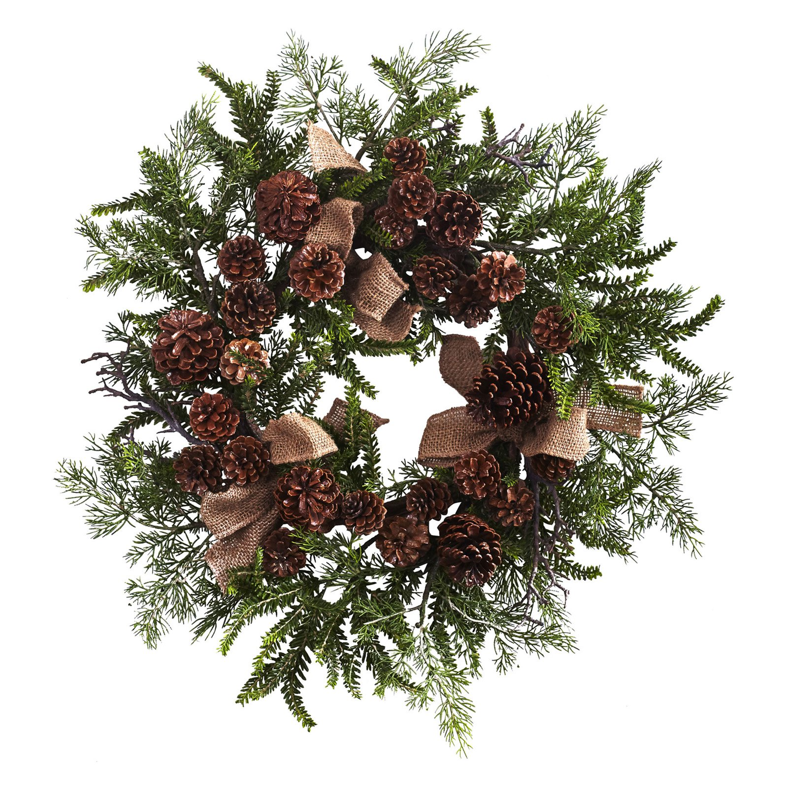 Nearly Natural 24 in. Unlit Pine and Pine Cone Wreath with Burlap Bows