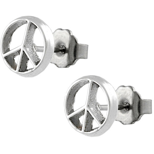 Brinley Co. Peace Sign Sterling Silver Stud Earrings