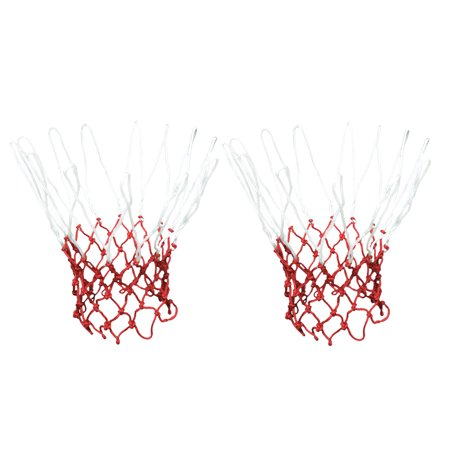 Unique Bargains 2 Pcs 19.2  Long 12 Loops Durable Nylon Knotted Basketball Nets White Red - Red Ball 2 Cool Math