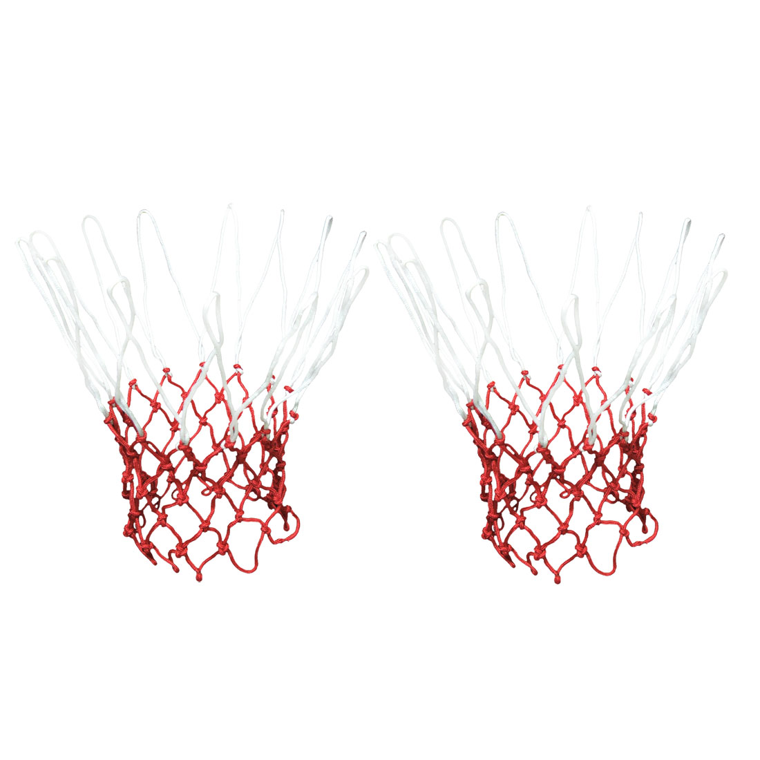Unique Bargains 2 Pcs 19.2  Long 12 Loops Durable Nylon Knotted Basketball Nets White Red