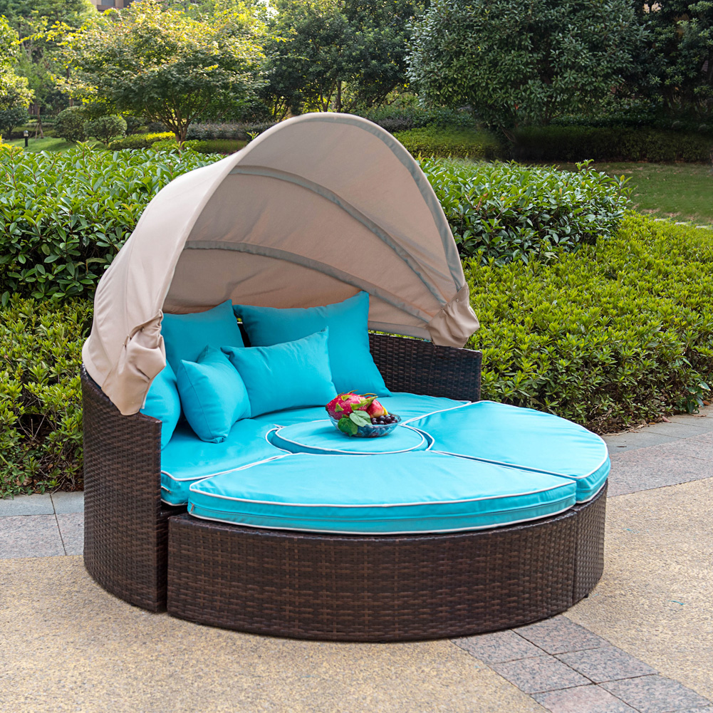 Superb Sundale Outdoor Rattan Wicker Daybed Round Furniture Sofa With Retractable  Canopy