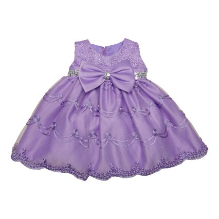 Baby Girls Lilac Glitter Sequin Bow Embroidered Flower Girl Dress