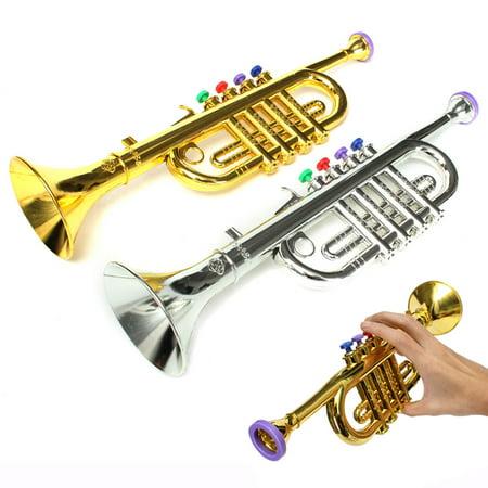 Plastic Instruments (Golden / Silver Mini Horn Trumpet Musical Music Instrument Plastic Toddler Kids Children Education Toys Birthday Christmas)