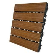 Aura 5011917 6 sq. ft. 12 x 12 in. Honey Teak Composite Balcony & Deck Tiles - Pack of 6