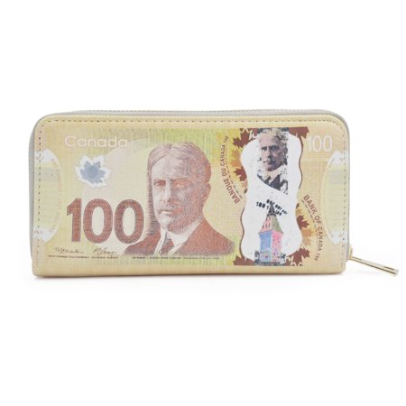 Canadian Dollar 100 CAD Currency Money Bill Print PU Leather Zip Around Wallet