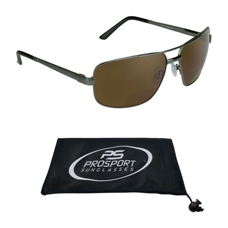 proSPORT Square Aviator POLARIZED Bifocal Sunglasses Brown Lens. Nearly Invisible Reader Line