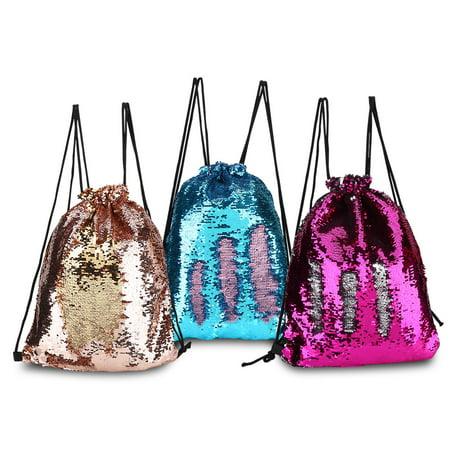 WALFRONT 3Colors Sequins Shoulder Bag Drawstring Backpack for Traveling Hiking Outdoor Sports, Camping Bag, Hiking Backpack
