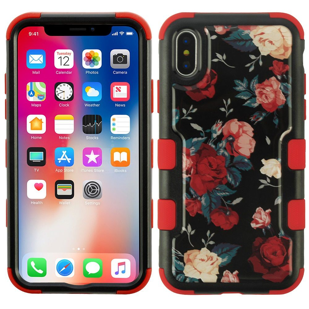 iPhone X Case, iPhone 10 Case, by Insten Tuff Rose Dual Layer [Shock Absorbing] Hybrid Hard Plastic/Soft TPU Rubber Case Cover For Apple iPhone X (Combo with Anti Spy HD Screen Privacy Filter)