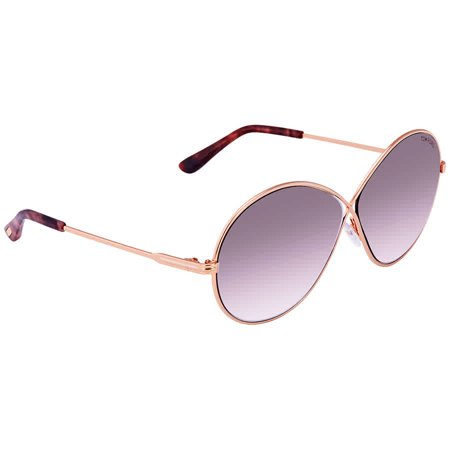 Tom Ford Rania Shiny Rose Gold Pink Round Sunglasses FT0564 (Rose Tinted Round Sunglasses)