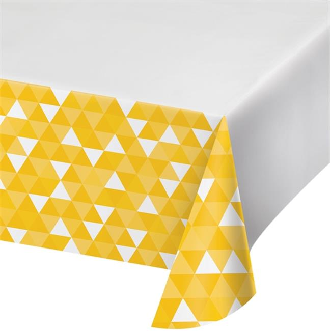 Hoffmaster Group 324459 54 x 102 in. Fractal - School Bus Yellow Plastic Tablecover, Pack of 12