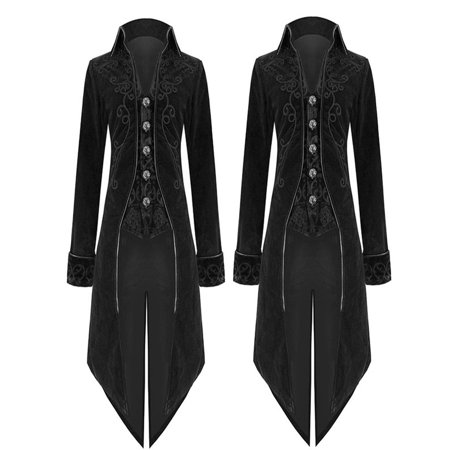 Fashion Mens Tailcoat Jacket Goth Steampunk Uniform Costume Praty Outwear - Mens Steampunk