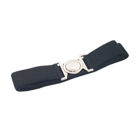 eVogues Plus size Round Buckle Elastic Belt Black
