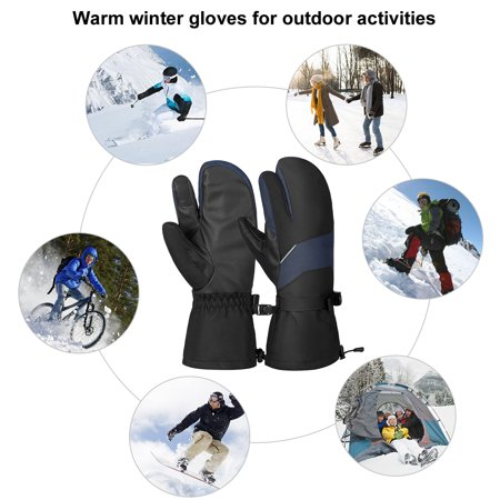 Vbiger Unisex Ski Gloves Warm Winter Gloves Thick Sports Mitten Cold Weather Gloves Touch Screen Gloves with Adjustable Buckle and Elastic Wrist Strap, Black and Blue