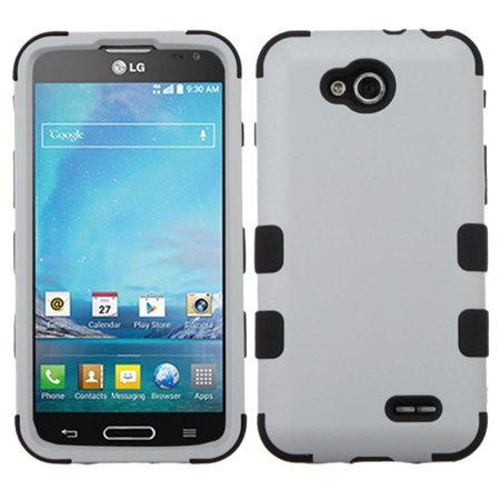 Insten Gray/Black New TUFF Hybrid Rugged Hard Shockproof Phone Cover Skin Case For LG D415 Optimus L90 ()