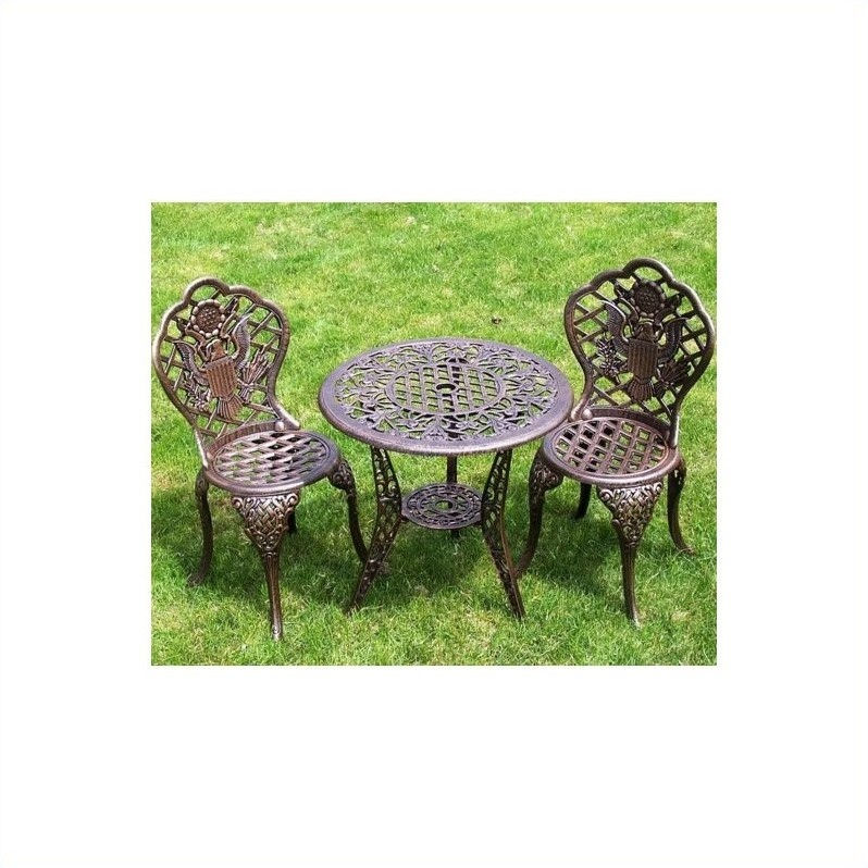 Oakland Living American Eagle 3 Piece Bistro Set in Antique Bronze by Oakland Living