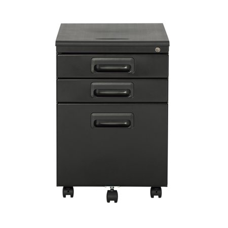 Offex Metal Rolling File Cabinet with 3 Locking Drawers - Black/Black