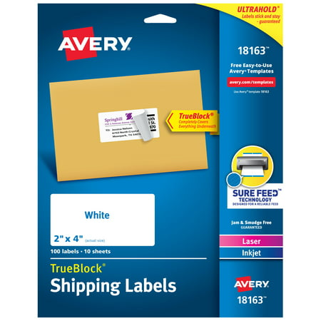 "Avery TrueBlock Shipping Labels, Sure Feed Technology, Permanent Adhesive, 2"" x 4"", 100 Labels (18163)"