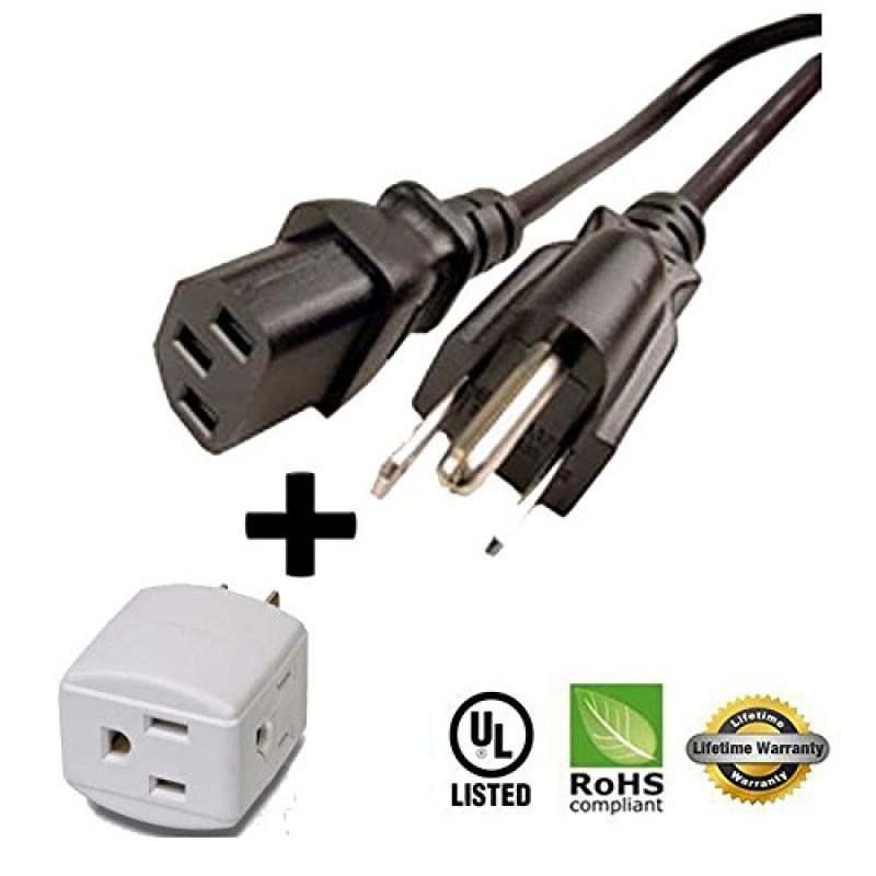 Huetron Long-Run 25ft Power Cord for Hannspree HF207HPB LCD Monitor + 3 Way Cube Tap by Huetron