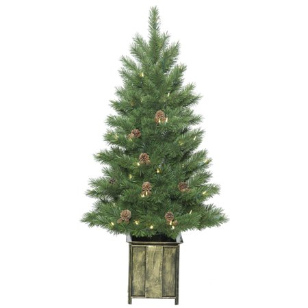Vickerman Artificial Christmas Tree 4 X 26   Potted Newfield Fir 100 Led Warm White Lights