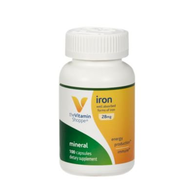 The Vitamin Shoppe Iron 28G, Well Absorbed Forms of Iron, Supports Immune Health  Energy Production, Essential Mineral, Once Daily (100 (Best Way To Absorb Iron)