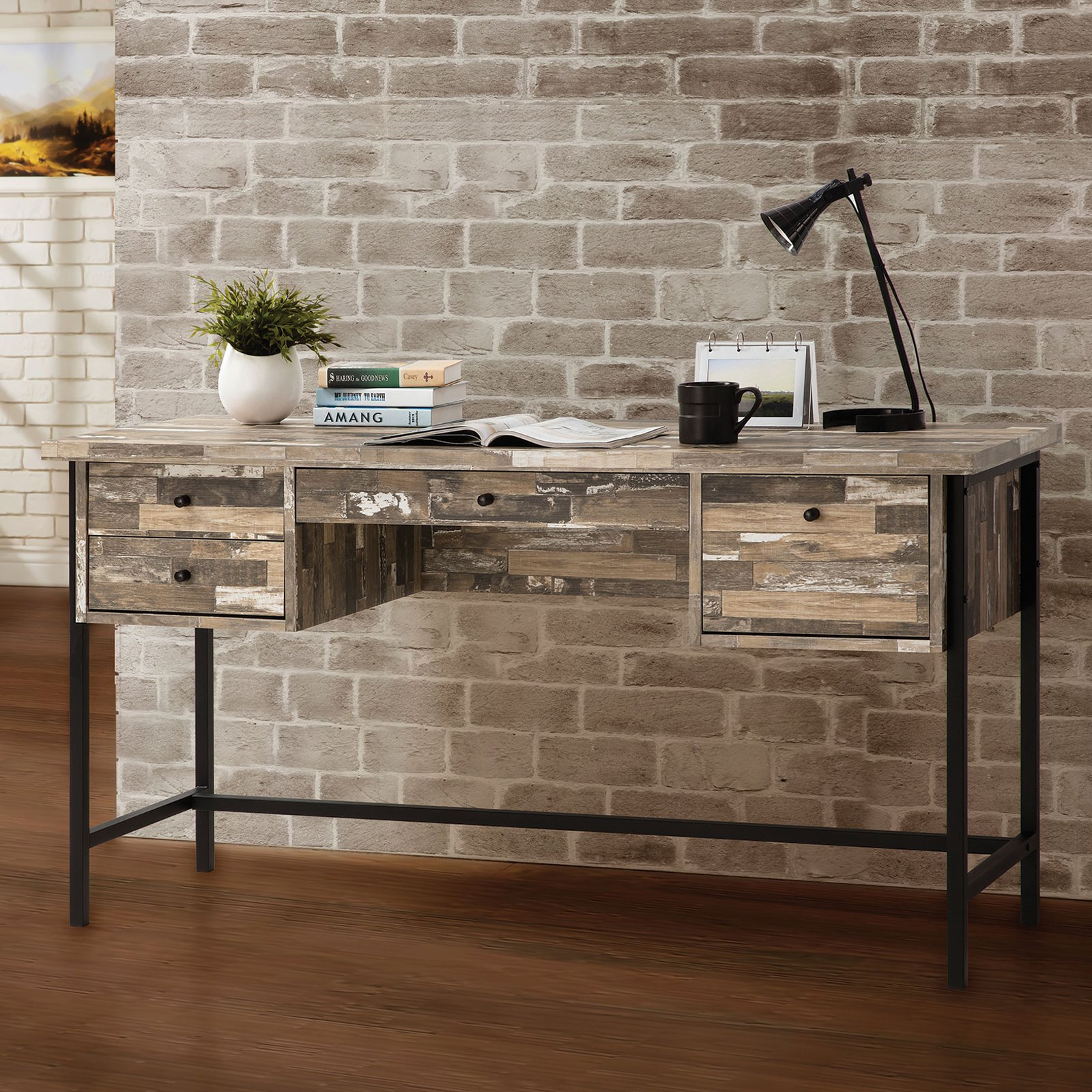Coaster Company Writing Desk, Salvaged Cabin and Black