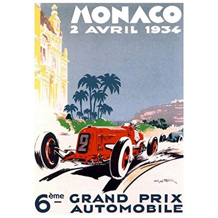 - Grand Prix De Monaco Poster 1934 French Vintage Car Racing New 24x34