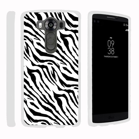 LG V10 | G4 Pro, [SNAP SHELL][White] 2 Piece Snap On Rubberized Hard White Plastic Cell Phone Case with Exclusive Art - Zebra Pattern - Pattern Hard Plastic Mobile