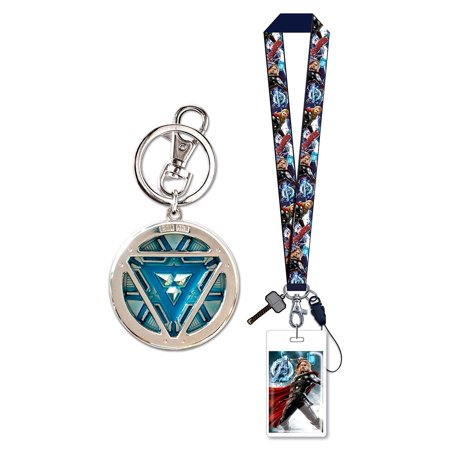 Novelty Character Accessories Marvel Comics Iron Man 3 Glow in the Dark Arc Reactor Pewter Key Chain and Marvel Comics Avengers 2 Age of Ultron Thor Multicolor Lanyard with Soft Touch Dangle Charm - Glow Accessories