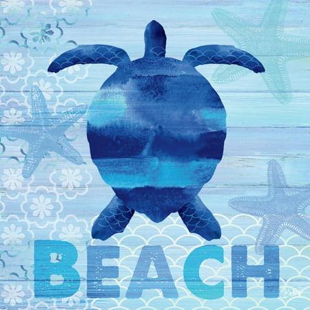 Authentic Beach Sea Glass - Sea Glass Turtle Coastal Beach Sign Print Wall Art By Studio Bella