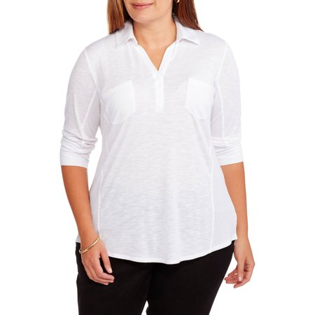 Faded Glory Women's Plus Popover Henley Long Sleeve Knit Shirt