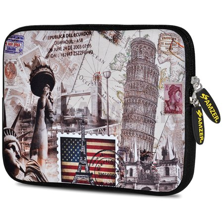 Designer 7.75 Inch Soft Neoprene Sleeve Case Pouch for Alcatel ONETOUCH POP 7 LTE, Acer Iconia One 7, LG G Pad, Amazon Fire 7, Kindle/ Kindle HD 7, RCA 7 Tablet - Travel