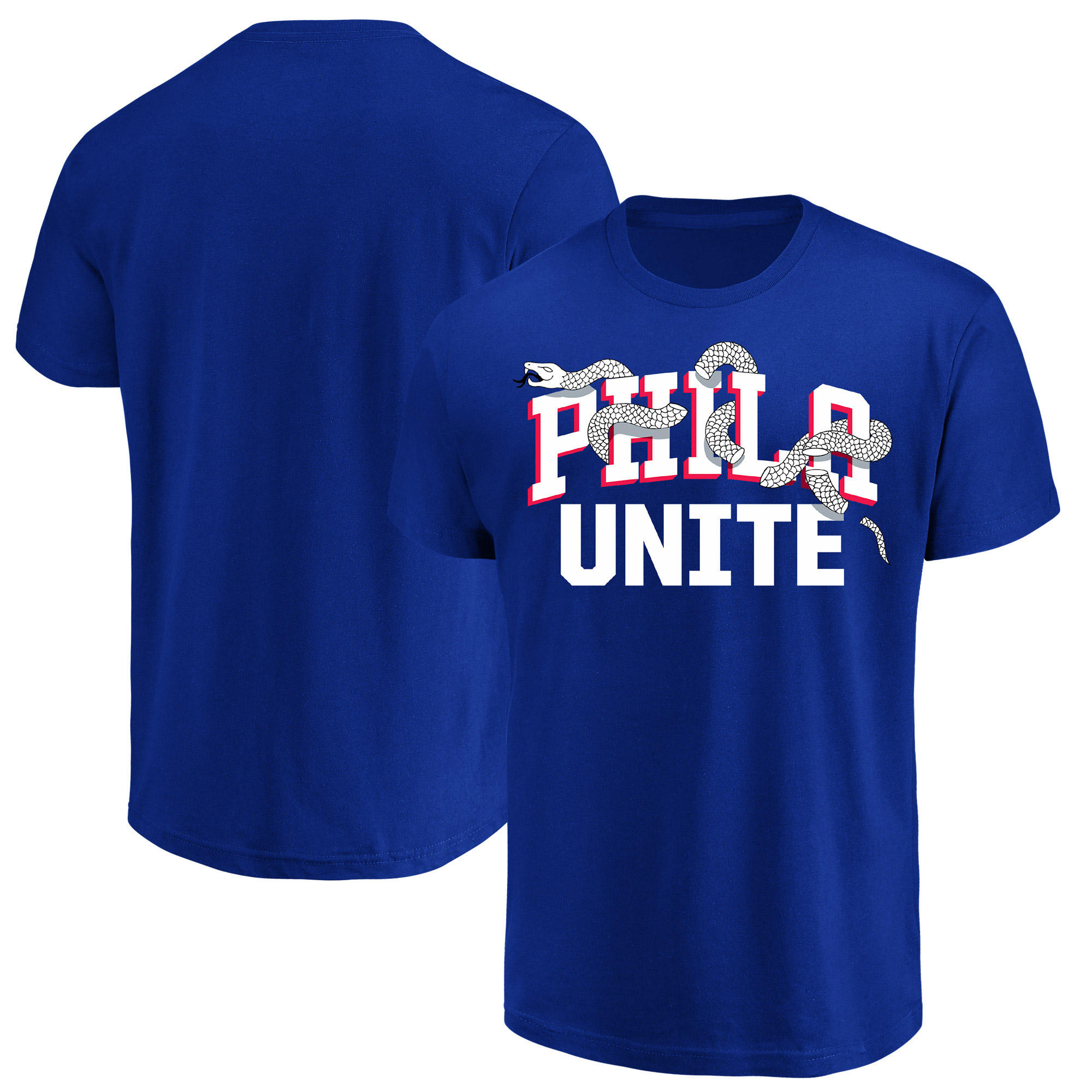 Philadelphia 76ers Majestic 2018 NBA Playoffs Phila Unite Wordmark T-Shirt - Royal